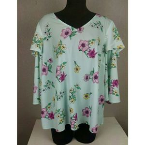 Lane Bryant Floral Tiered Ruffle Sleeve Top 14/16